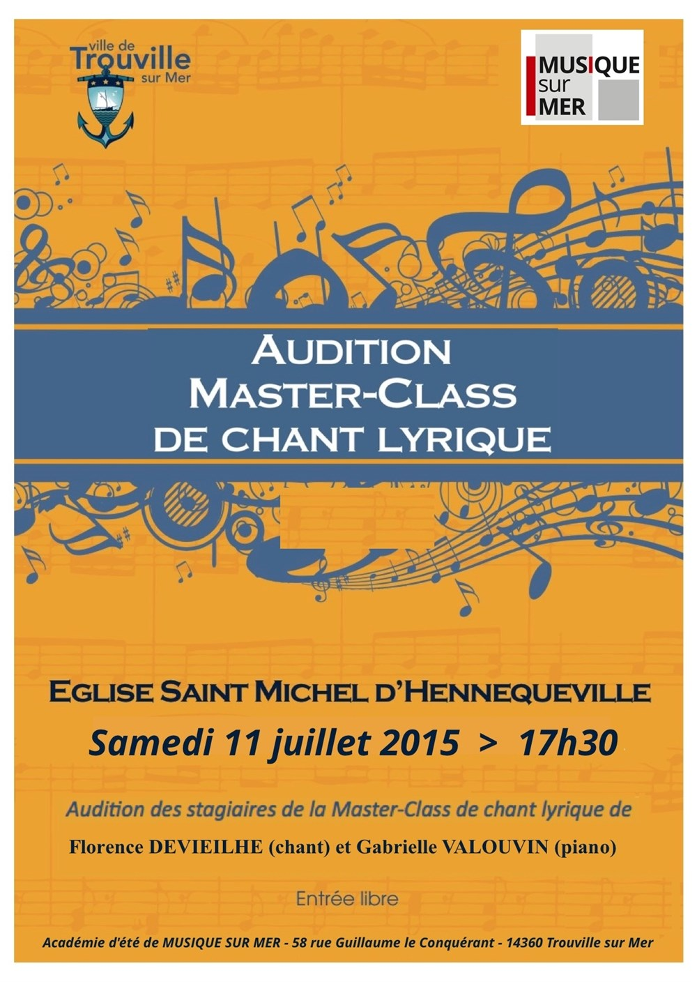 Audition de la master class de chant lyrique Trouville-sur-Mer