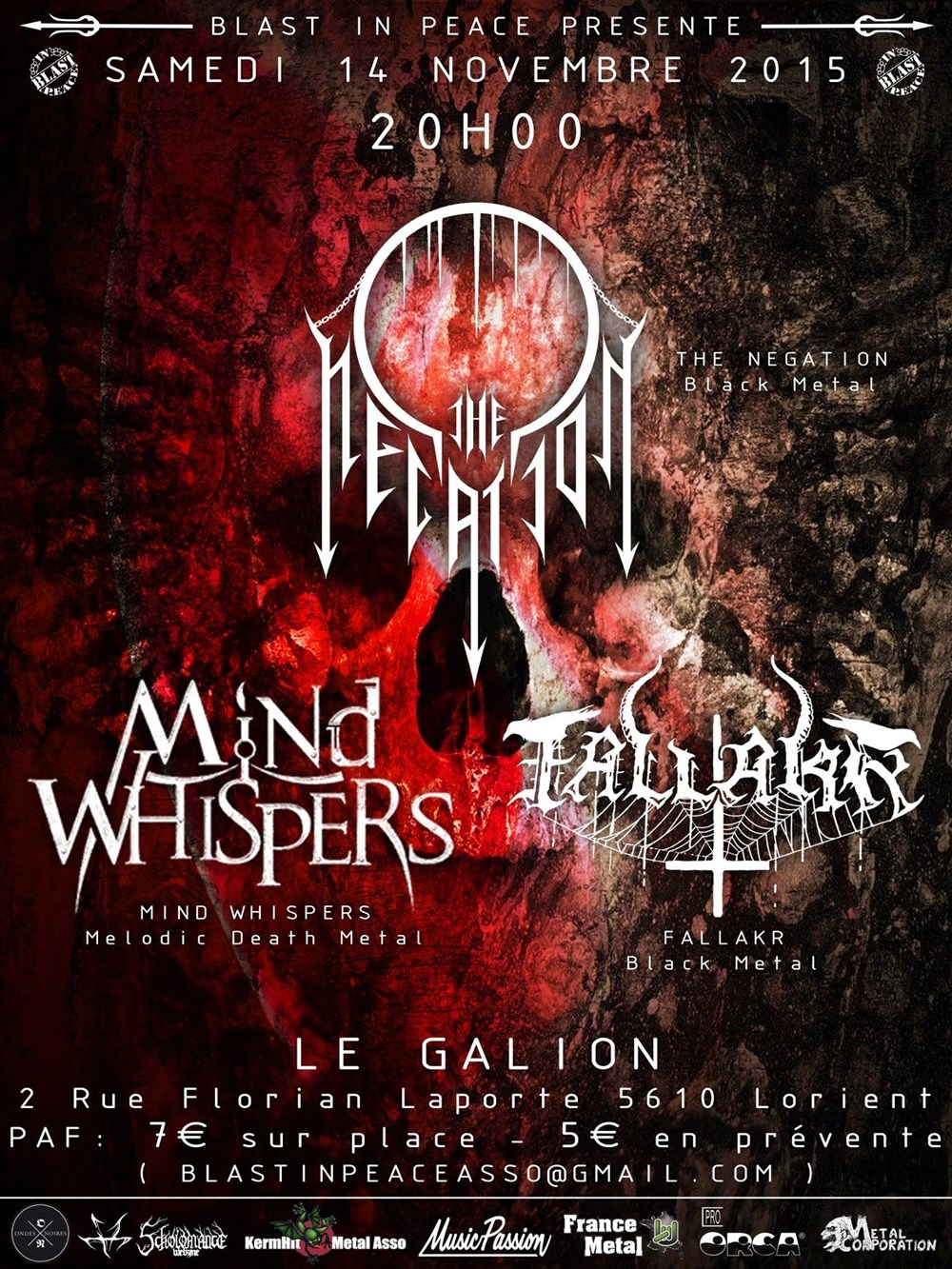 Concert de The Negation, Mind Whispers et Fallakr Lorient