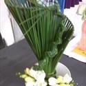 Reprise des cours d'art floral thème bouquet d'accueil :creation  avec feuilles de yucca et roses
