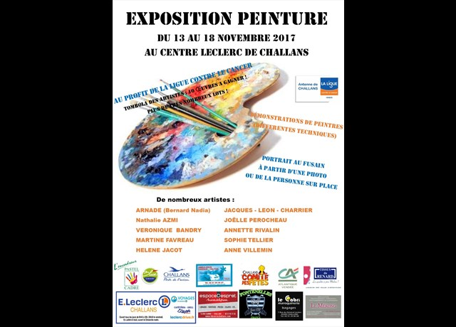 agenda challans exposition de peinture au profit de la ligue contre le cancer exposition. Black Bedroom Furniture Sets. Home Design Ideas